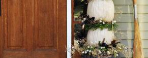 Topiaria com abóboras como decoração para o Halloween